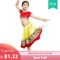 Children Girls Kids Indian Dancing Wear Top Skirt Veil 3pcs Set Practice Clothes Stage Performance Costume Training Outfits