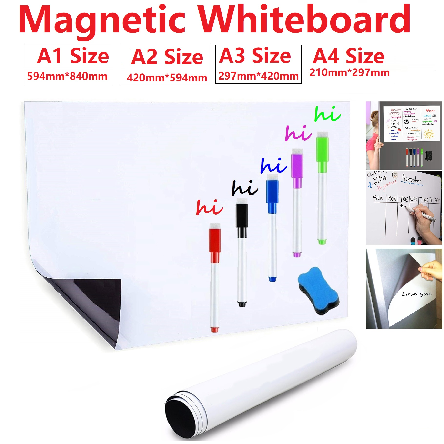 Soft Dry Erase Whiteboard Magnetic White Board For Fridge Magnets White Board Marker Pen Week Month Planner Message Board School