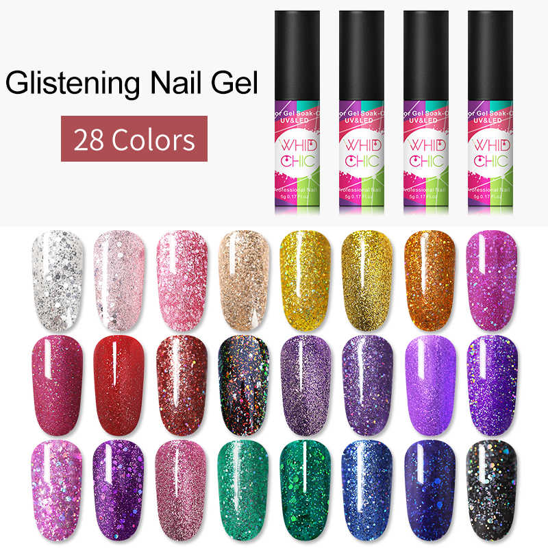 WHID Chic Glitter Uv Gel Nail Polish Glitter Payet Gel Rendam Off UV LED Gel Pernis Kuku Seni Polandia Gel lacquer DIY