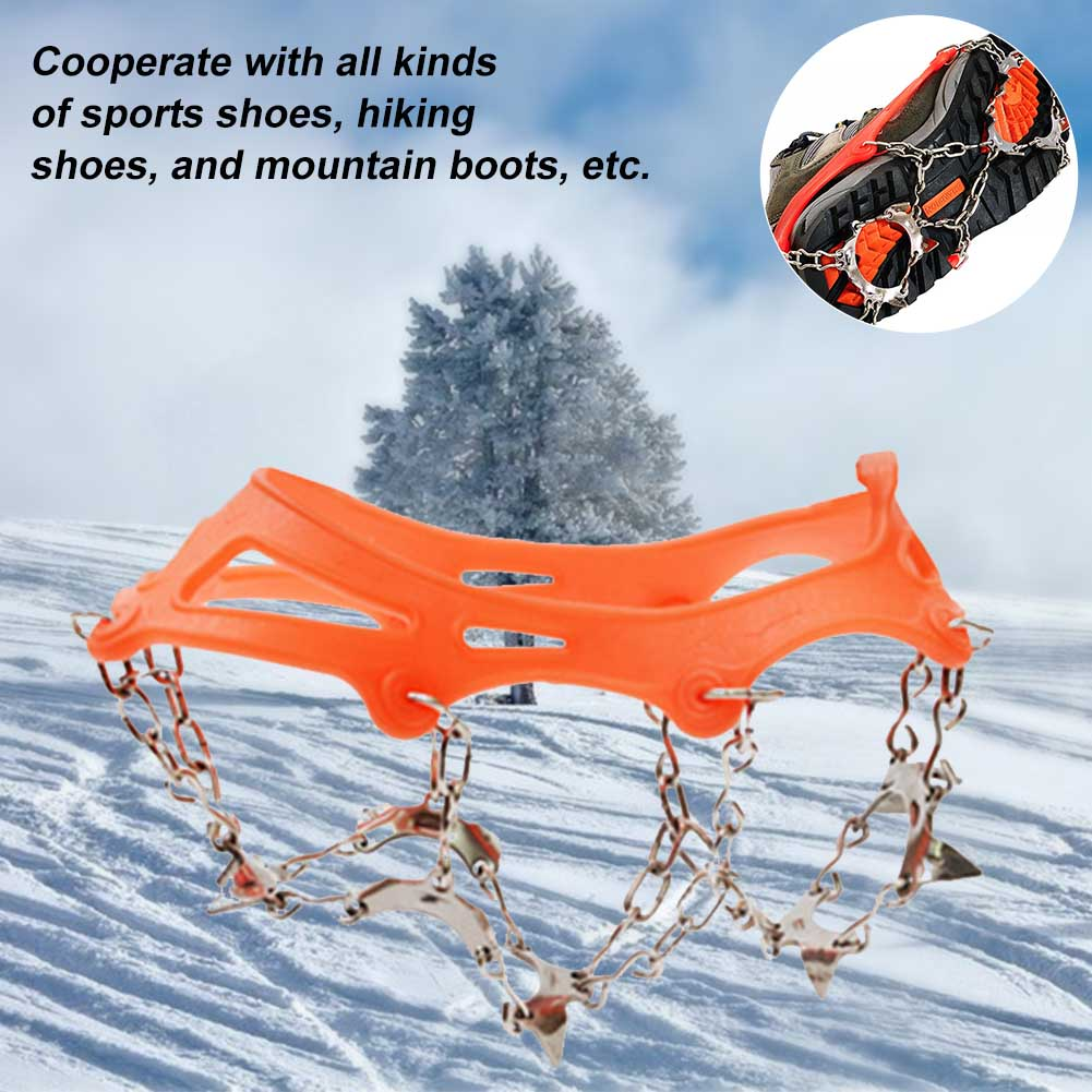 1 Pair 13 Teeth Sports Shoe Cover Ice Grip Winter Fishing Antiskid Stainless Steel Walking Spikes Outdoor Climbing Snow Crampons