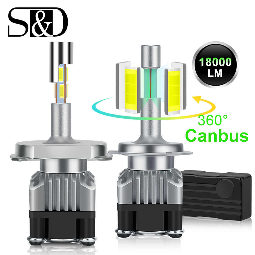 18000LM 4 Sides Canbus H7 LED Headlight H1 Turbo H4 9005 HB3 9006 HB4 LED H8 H11 Bulb 6500K Lamp 360 degree diode Auto Fog Light