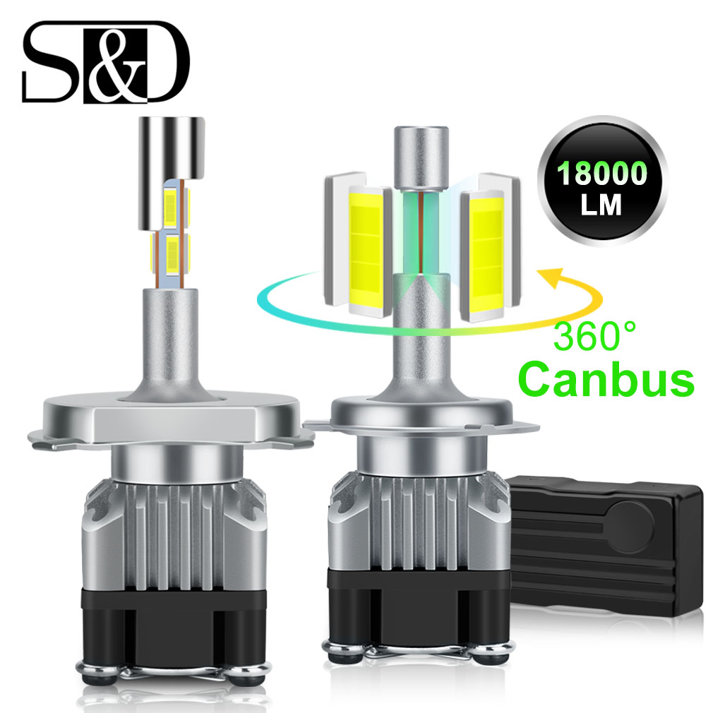 18000LM 4 Côtés Canbus H7 phare LED H1 Turbo H4 9005 HB3 9006 HB4 LED H8 H11 Ampoule 6500K Lampe 360 degré diode Automatiques D'antibrouillard