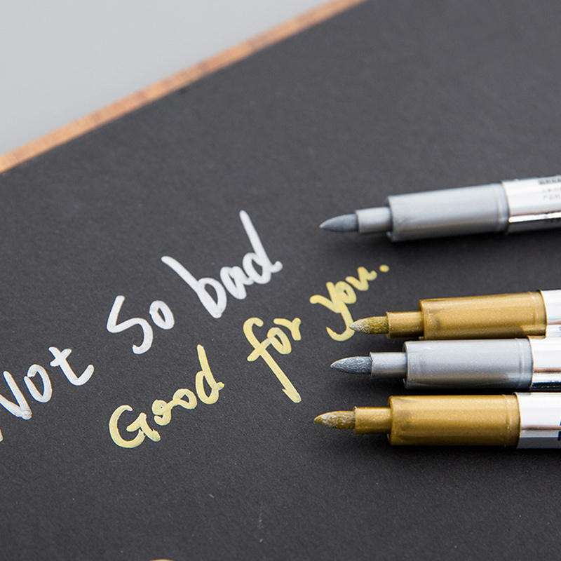 Kids School Home Office Use Gold and silver marker pens gold /& Silver Children