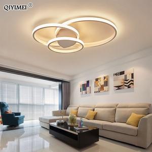 Image 1 - מודרני טבעות LED נברשות תאורה לחדר שינה סלון לבן שחור קפה אורות מתקן מנורות AC90 260V QIYAMEI