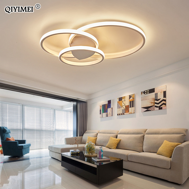 מודרני טבעות LED נברשות תאורה לחדר שינה סלון לבן שחור קפה אורות מתקן מנורות AC90 260V QIYAMEI