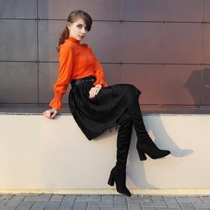 Image 3 - Женские сапоги из флока QUTAA, Черные Сапоги выше колена на высоком каблуке, на шнуровке, зимние сапоги, размеры 34 43, для осени и зимы, 2020