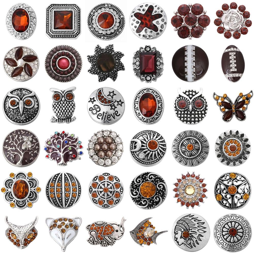 5 шт./лот, ювелирные изделия с коричневыми кнопками, 18 мм, металлические кнопки, ювелирные изделия, смешанные стразы, кнопки, подходят для бра...