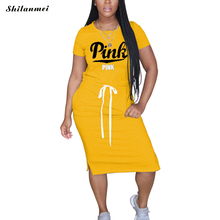 Женское Повседневное платье с принтом граффити розовое длинное