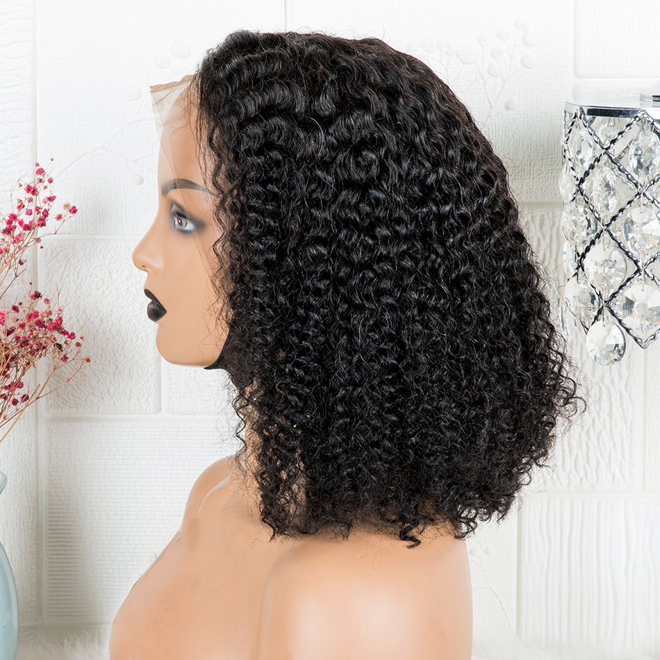 Wig Short Human-Hair-Wig Bob-Frontal Deep-Wave Jerry Curly 180density Pre-Plucked 4x4 Closure