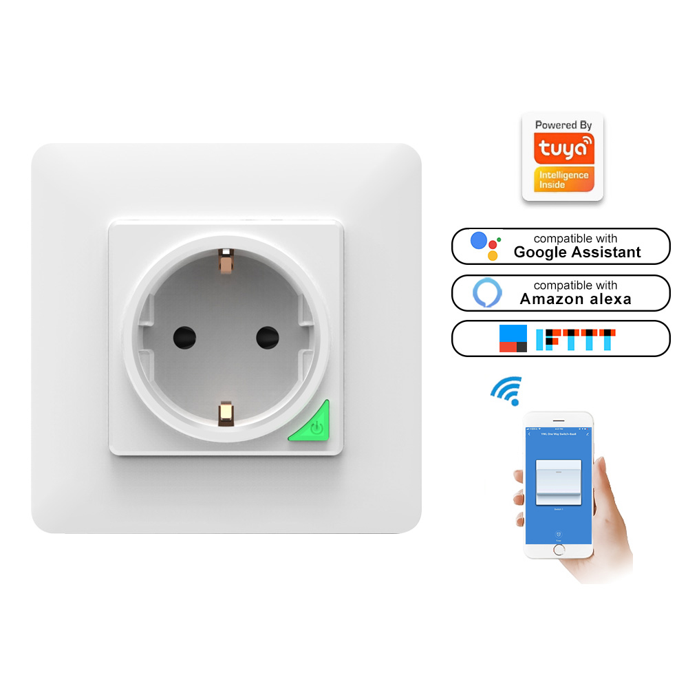 Smart <font><b>Socket</b></font> <font><b>EU</b></font> Wi-Fi Wall-Mounted Power Panel <font><b>Remote</b></font> Controll With Button Work With Alexa Google Assistant image