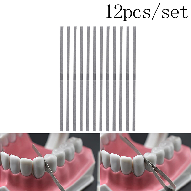 12pcs/set 4mm Dental Metal Polishing Stick Strip With Alumina-Plated Polishing Sanding Surface Dentist Whitening Materials