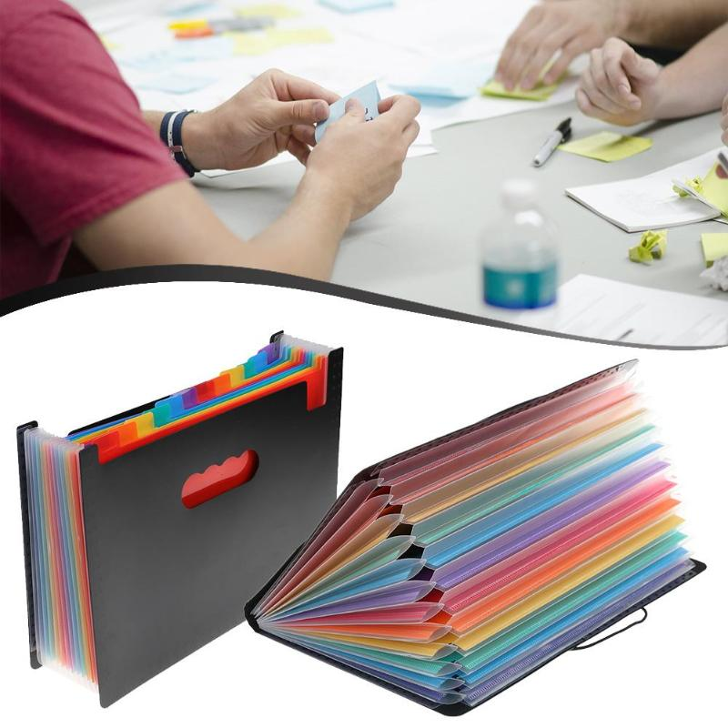 12 Pockets Big Document Bag Expanding Files Folder Portable Rainbow Accordion A4 Paper Size File Organizer Multicolor Stand