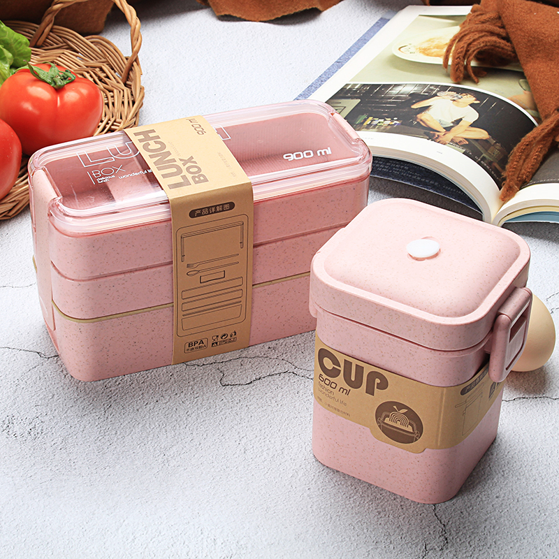 3 Layer Portable Eco Friendly Lunch Box For Kids Wheat Straw Bento Box Food Container Lunchbox Food Box With Spoon Dinnerware