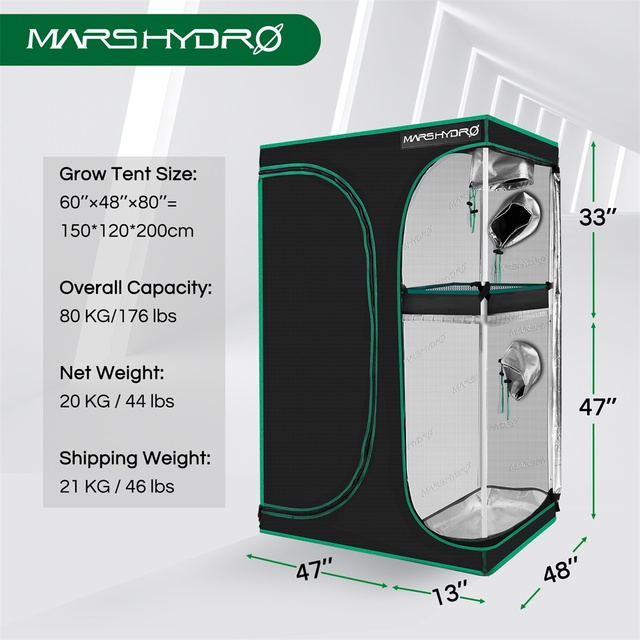 Mars Hydro 150X120X200cm 2-in-1 Grow Tent 1680D Water-Proof Non-Toxic Reflective Material for Indoor Growing System Plant Room 2
