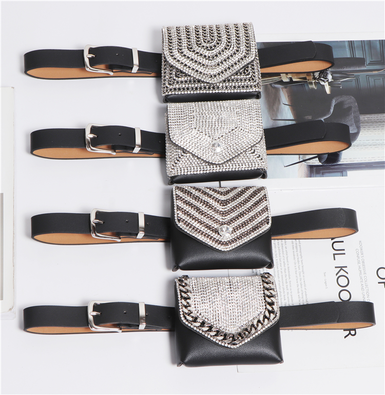 2019 Women Mini Square Flap Fanny Packs Bling Rhinestone Coin Bag Luxury PU Leather Detachable Plus Size Waist Belts With Bag