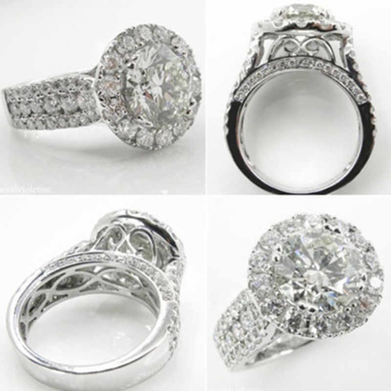 Cubic Zirconia หมั้นแหวนขายส่ง 925 เงินคริสตัลหินเครื่องประดับสำหรับผู้หญิง