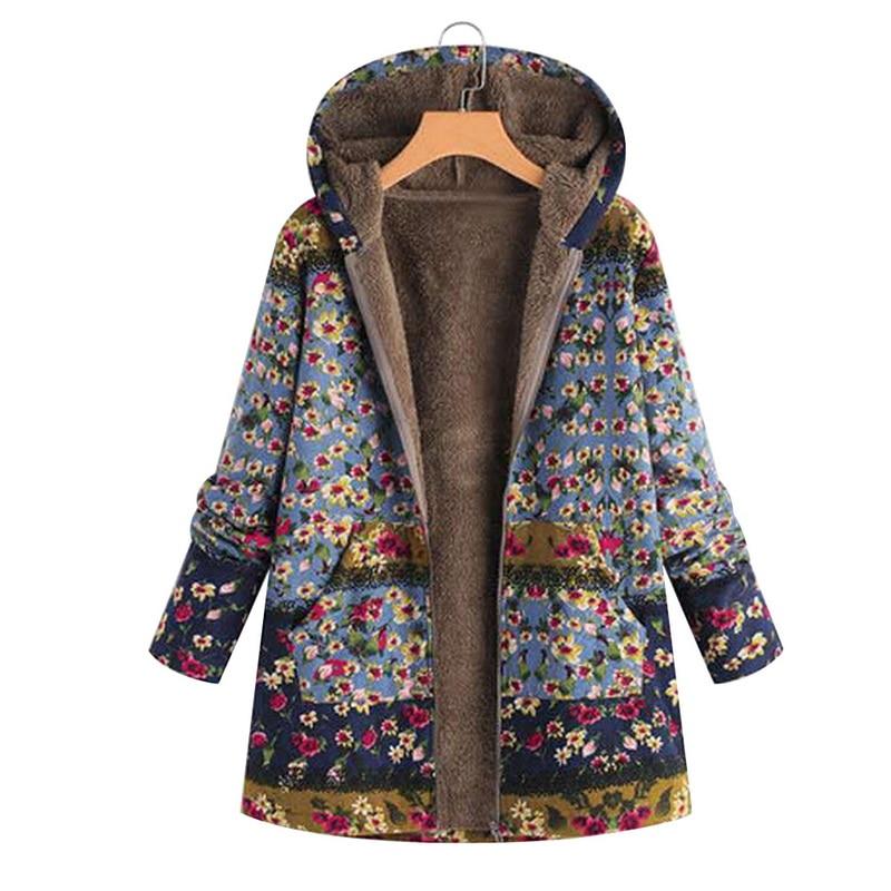 Vertvie Floral Printed Jacket Women Plus Size Winter Coat Casual Hooded Female   Parka   Winter Women Fashion Pockets Warm Jackets