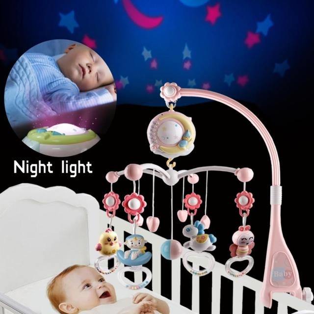 Baby Rattles Crib Mobiles Toy Holder Rotating Mobile Bed Bell Musical Box Projection 0-12 Months Newborn Infant Baby Boy Toys 1