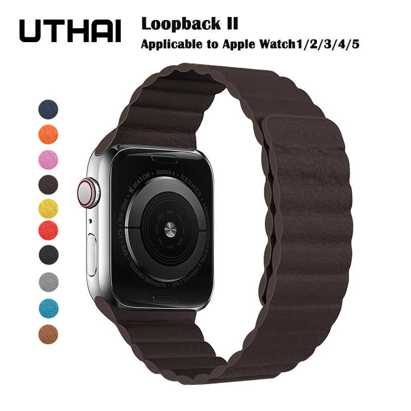 Magnetic Tali untuk Apple Watch Leather Loop untuk Apple Watch Band 44Mm 40Mm Pengganti IWatch Seri 5 4 3 2 1 Watchbands