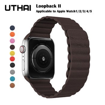 Magnetic strap for apple watch Leather loop For apple watch band 44mm 40mm Replacement iWatch series 5 4 3 2 1 watchbands