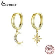 Bamoer autentici orecchini pendenti a forma di luna e stella in argento Sterling 925 con ciondolo chiaro CZ Color oro gioielli 2020 nuovi Bijoux SCE785