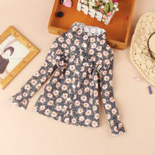 Fall Children Clothing Kids Girls Flower Print Blouses Fashion Soft Cotton Bottoming Shirts for Teenage School Girl Cute Tops spring fall teenager long sleeve shirts fashion 2019 kids girls plaid blouses cotton lace tops for baby girl children clothing