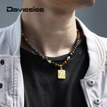 Initial Letter Charm Pendant Necklace For Men Women Lava Beads  Necklace Mixed Tiger Eye Stone Gold Color Choker Jewelry LDN163 2019 statement multilayer letter pendant necklace charm gold necklace bread beads chain necklace jewelry for women