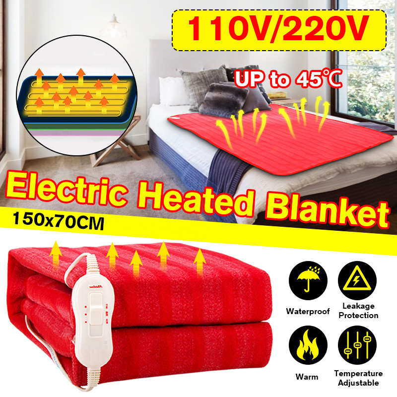 150x70cm 110V/220V Red Electric Blanket Thicker Heater Single Body Warmer Heated Blanket Thermostat Electric Heating Blanket