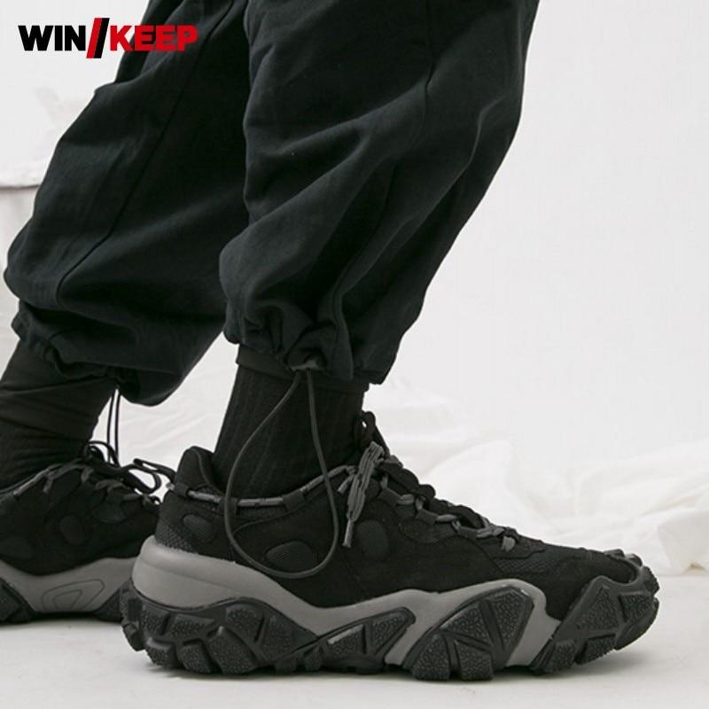 Harajuku Dos Homens Novos Running Shoes Lace Up Antiderrapante Apartamentos Plataforma Sapatilhas Sapatos Tênis de Corrida Ao Ar Livre Sapatos de Desporto Gym Workout