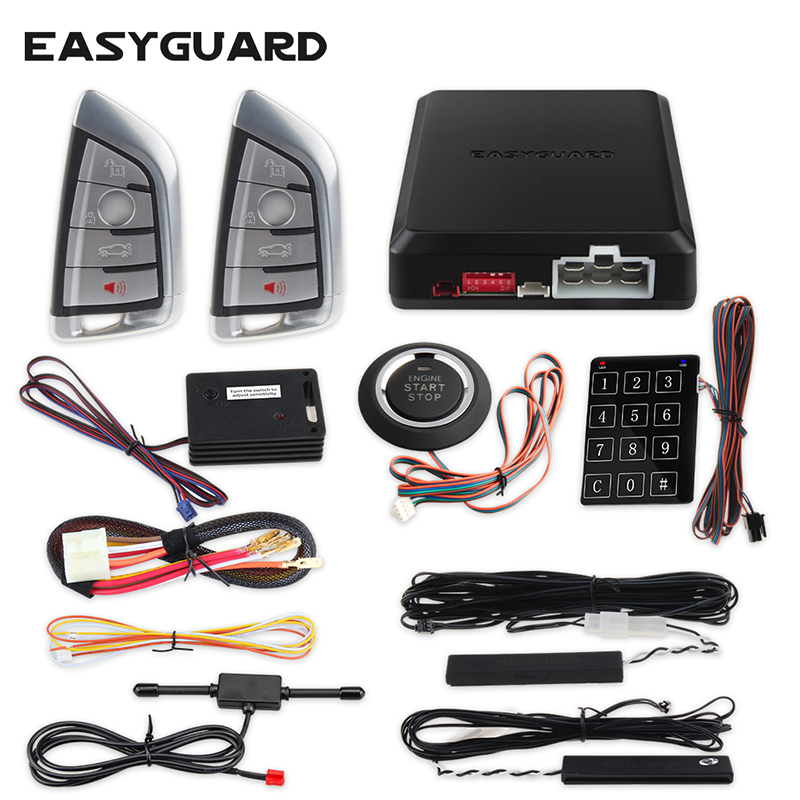 EASYGUARD brand new cool style remote control PKE car alarm system push button start remote engine