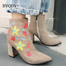 BYQDY Woman Vintage Embroider Chelsea Boots Dancing Shoes Women Winter Warm Thick Heels Lady Flock Ankle Plus Size 43