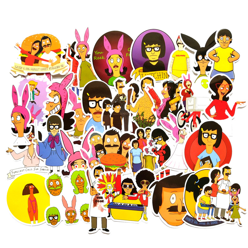 TD ZW 34PCS Cartoon Stickers Bobs Burgers Funny Stickers For Laptop Luggage Skateboard Motorcycle Bottle Decal Graffiti Stickers