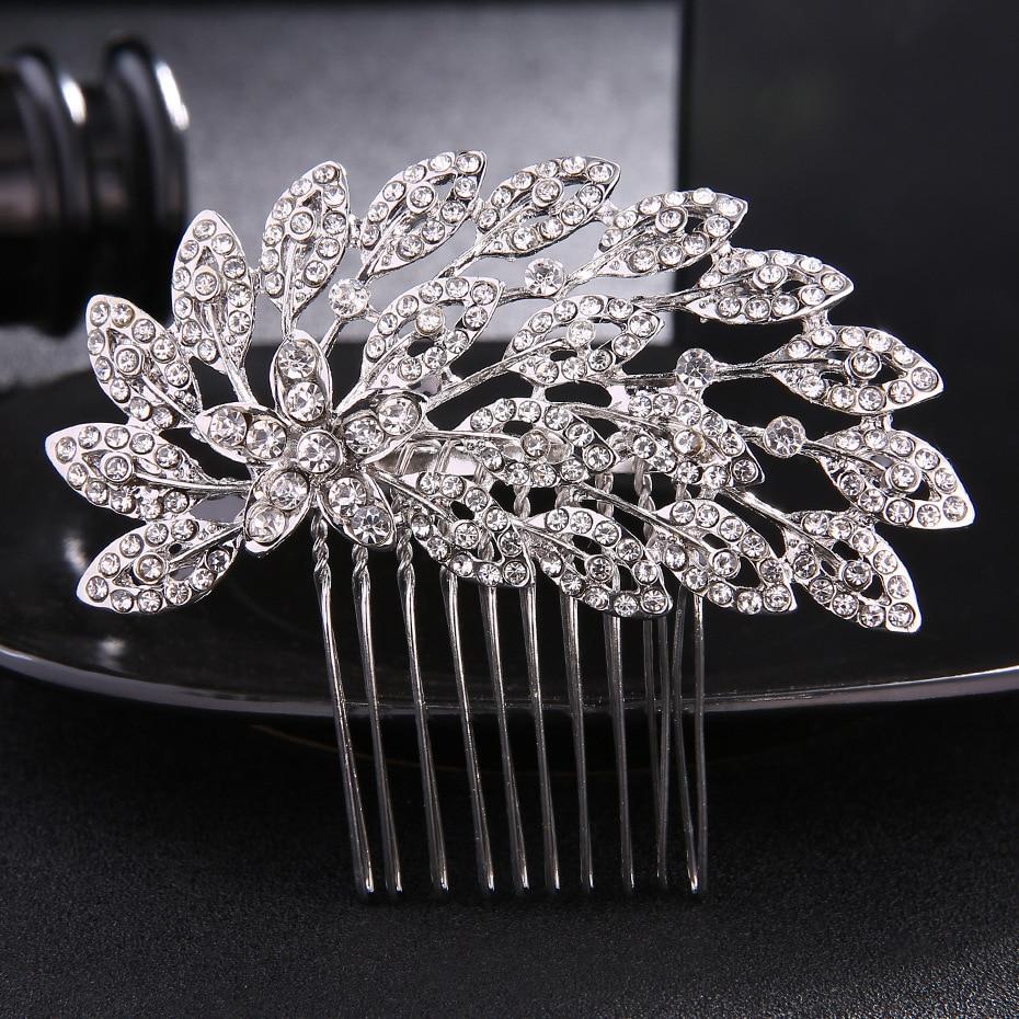 Crystal Wedding Hair Accessories Bridal Head Jewelry Headdress Fashion Silver Color Bird Wing Hair Combs FS48