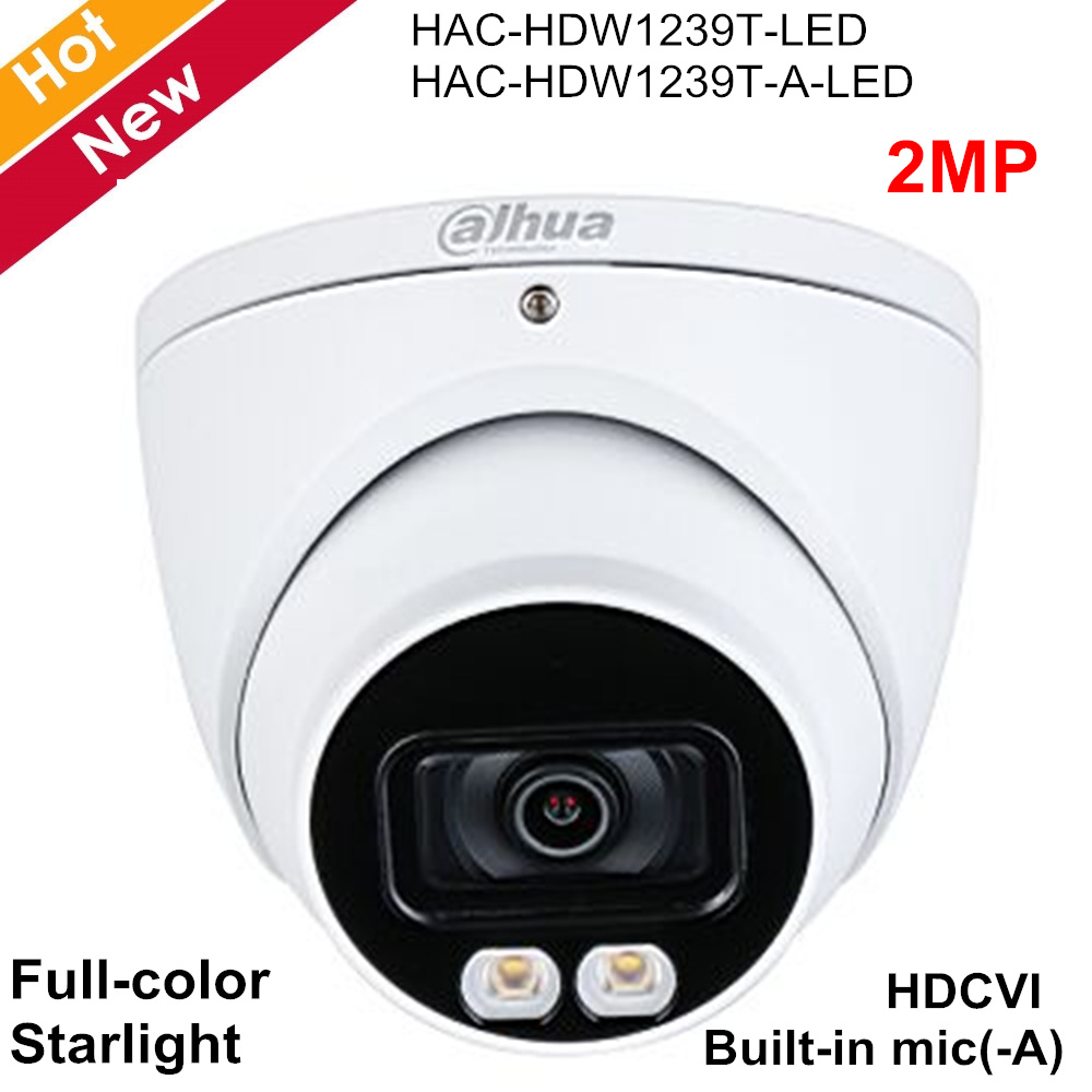 Dahua 2MP HDCVI Camera Full Color Starlight Camera Built-in Mic(-A) 40m LED Distance 3.6mm Lens Support CVI CVBS AHD TVI