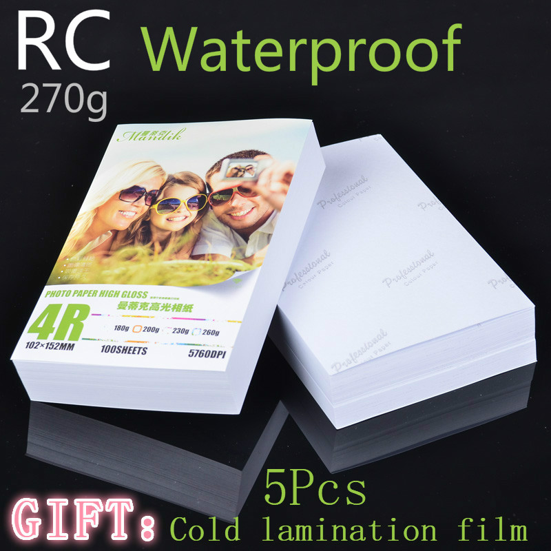 RC 30 Sheets 270g Glossy 4R 6inch 4x6 Photo Paper For Inkjet Printer Paper Imaging Supplies Printing Paper Photographic Color
