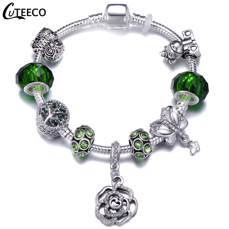 H7123ddab37904b5da40c0a10e50f6cafH - CUTEECO Antique Silver Color Bracelets & Bangles For Women Crystal Flower Fairy Bead Charm Bracelet Jewellery Pulseras Mujer