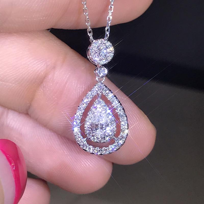 Solide 925 Silber Farbe Halskette Echte Diamant Anhänger für Frauen Hochzeit Bizuteria Topaz Edelstein Schmuck Anhänger S925 Halsketten