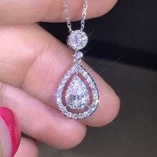 Stałe 925 srebrny kolorowy naszyjnik prawdziwy wisiorek diamentowy dla kobiet ślub Bizuteria Topaz kamień biżuteria wisiorek S925 naszyjniki