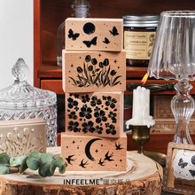 Vintage Beauty Night Series Flower Butterfly Starry Sky Stamp Wooden Rubber Stamps for Scrapbooking Stationery Standard Stamp
