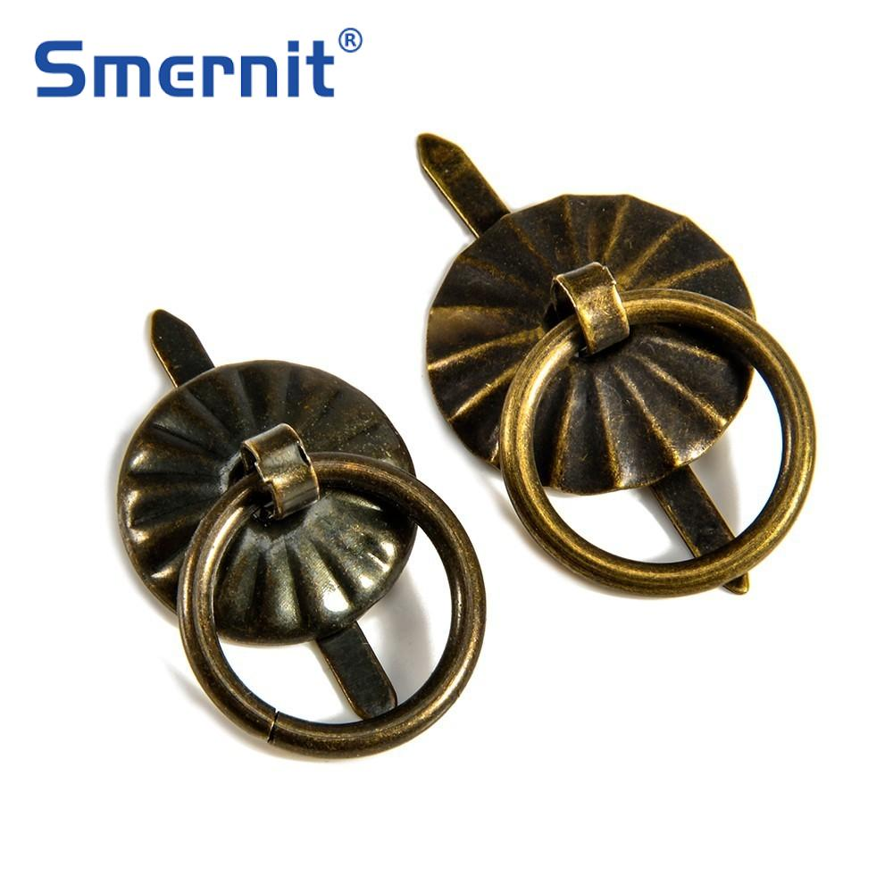 10pcs Bronze Small Cabinet Box Handles Pulls Vintage Wooden Jewelry Box Pull Knobs Door Ring Furniture Handles Hardware