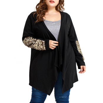 5XL Women Cardigan Sweater Asymmetrical Sequin Sleeve Jersey Mujer Casual Plus Size Cardigan Sweater Fashion Long Cardigan D30