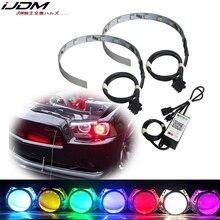 IJDM proyector de ojos con anillo de demonio RGB, inalámbrico por Bluetooth, para proyectores de faros delanteros o retroiluminación de 2,5, 2,8 y 3,0 pulgadas