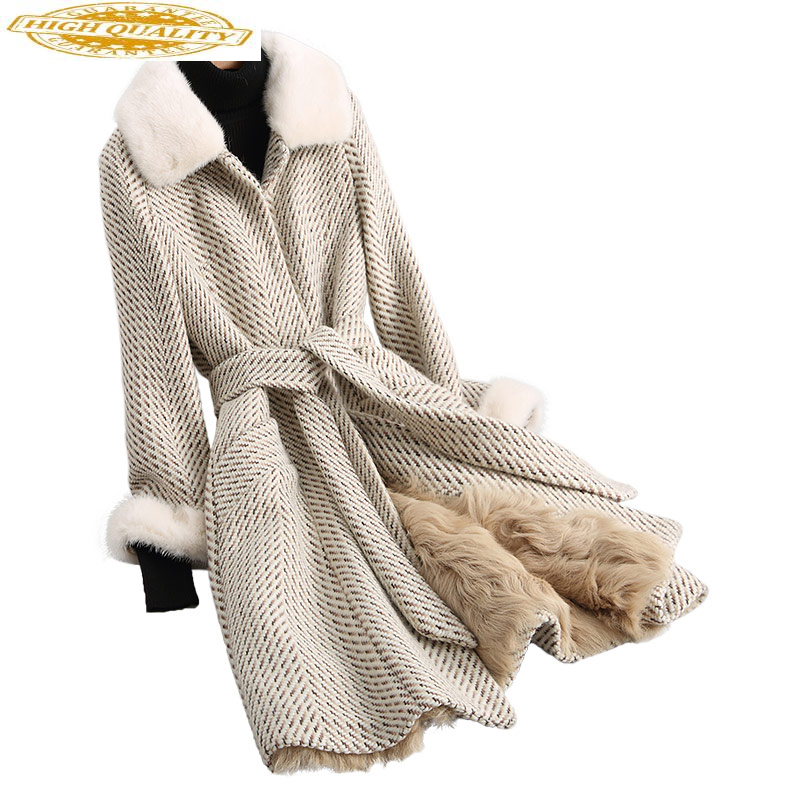 Women's Fur Coat Tweed Wool Jackets Real Mink Fur Collar Warm Winter Jacket Women Natural Lamb Fur Liner 68247 WYQ1940