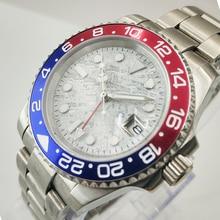 GMT 40mm Meteorite dial Sapphire Glass Ceramic Bezel Date Luminous Automatic Movement men's Watch 33 цена и фото