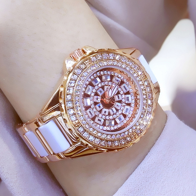 Diamond Women Watches  Famous Gold Fashion Ceramic Women Quartz Wrist Watches Ladies Steel Female Clock Relojes Para Mujer