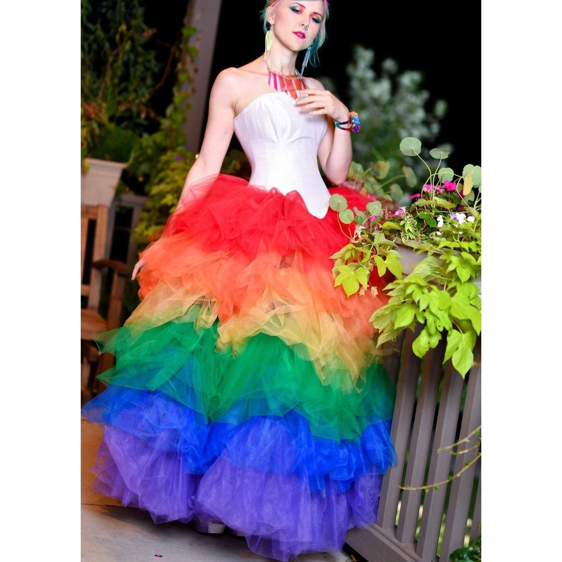 Arc-en-ciel niveaux Tulle Tutu jupe Style Hippie coloré couleur mélangée Maxi jupes longueur de plancher en couches mode jupe de bal sur mesure