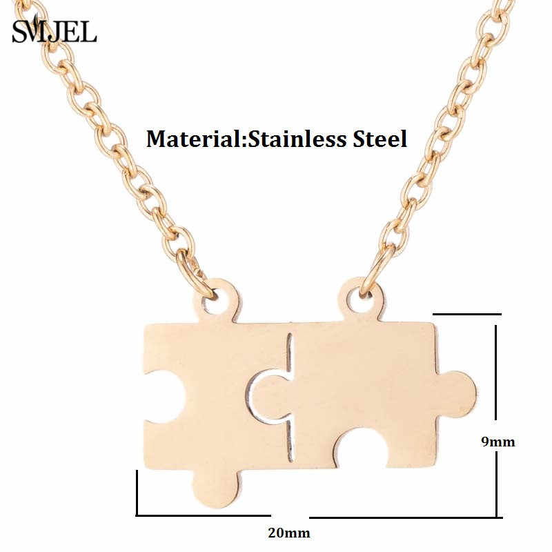 SMJEL Stainless Steel Puzzle Pendant Necklace Mens Womens Couples Necklace Best friend Jewelry Smooth Double Puzzel Lock Choker