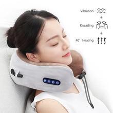 Syeosye Electric Neck Massager U Shaped Pillow Portable Shoulder Cervical Massager Travel Home Car Relax Massage Pillow