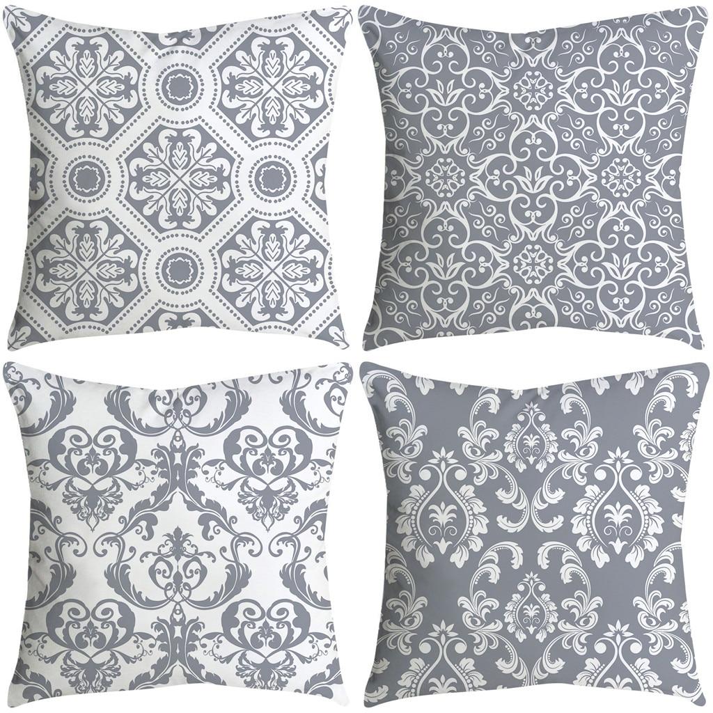 Housse de coussin gris et blanc - Lot de 4