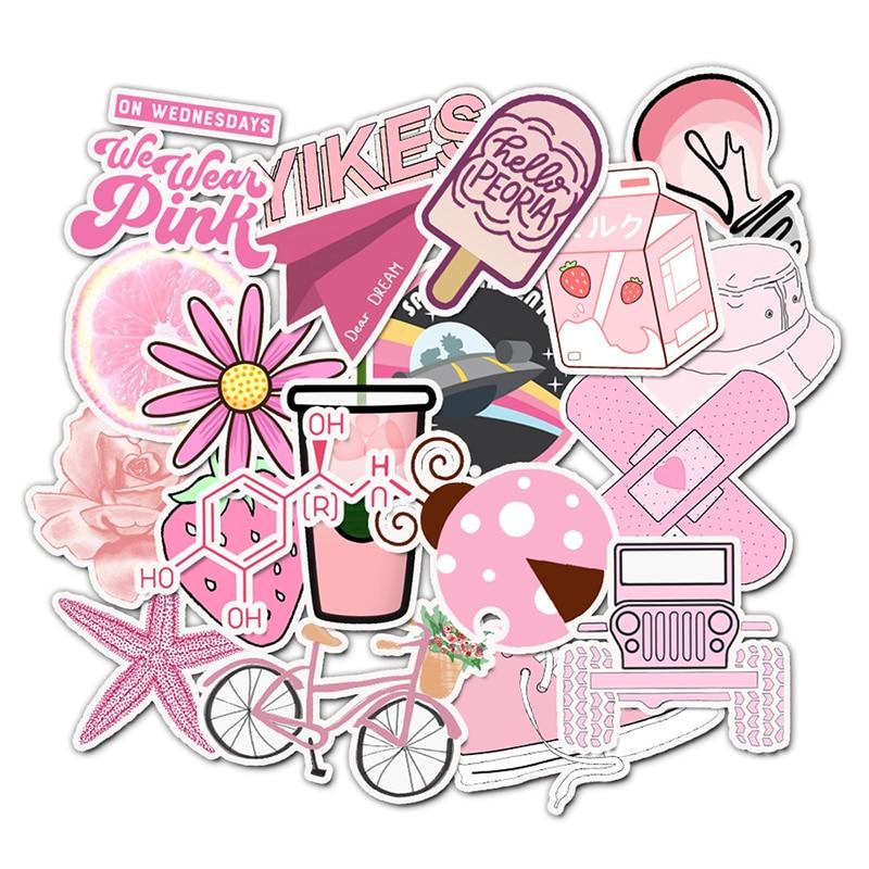 50PCS Cartoon Pink Computer Stickers Waterproof DIY Skateboard Suitcase Laptop Decals For For Notebook Graffiti Sticker